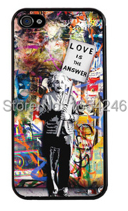 Best selling! Banksy Albert Einstein Love Is The Answer Hard Customized Back Cover Bag for iPhone i4 4s 5 5s 5c 6 6plus(China (Mainland))