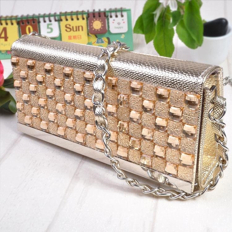 Best Price Diamond Evening bag High Grade Full Rhinestone Dinner Bag/Clutch Purse/Bridal Wedding Bag FB117 black silver&gold - China DonYi Co.,Ltd store