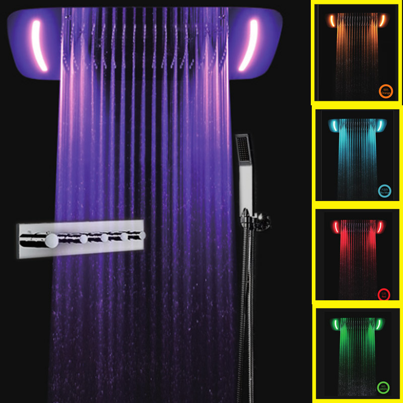 JMKWS Modern Design LED Rain Shower Head Set 8 Color Showerhead Faucet Luxury Thermostatic Mixer Water Bath Faucets Wall Mounted(China (Mainland))
