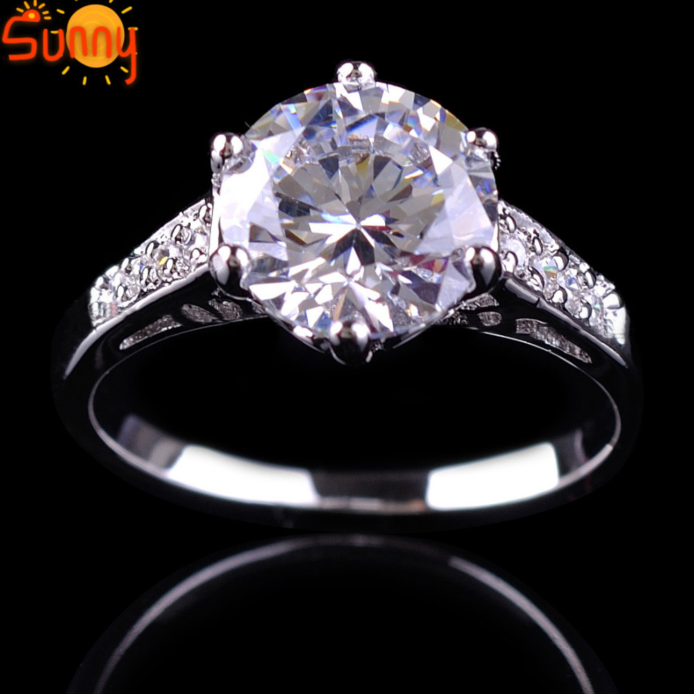 Size5/6/7/8/9/10 Jewelry White Sapphire Lady's 10KT White Gold Filled Wedding Rings Jewelry Rings White Rings(China (Mainland))