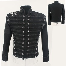 Rare MJ Michael Jackson England Style Retro Black Militray Jacket Handmade Punk Men Outerwear Tailor Made High Quality(China (Mainland))