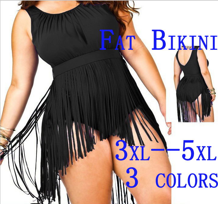 SIZE Big and Beautiful Womens Retro Fringe Tassel Top High Waisted Bikini Push Up Bandeau Rockabilly Swimwear Swimsuit(China (Mainland))