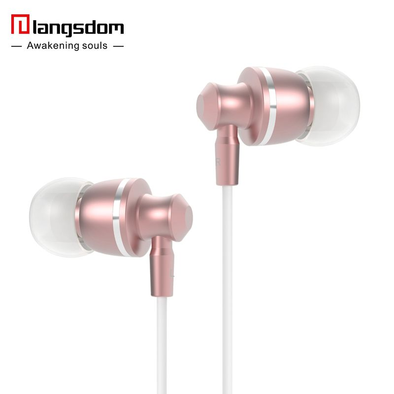 Langsdom M300 iMetal Rose Gold Super Bass In-ear HIFI Earphones Volume Control with Mic Earbuds for all mobile phones(China (Mainland))
