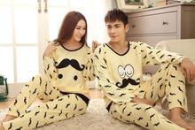 2015 new style couple Pajamas modal long sleeve Pajamas for women cartoon Pajamas sets men and women Pajamas free shipping(China (Mainland))