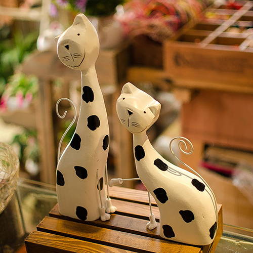 Zakka Fashion Home Accessories Home Decor Wool Colored Drawing Rustic Lovers Cat Set Decoration Crafts