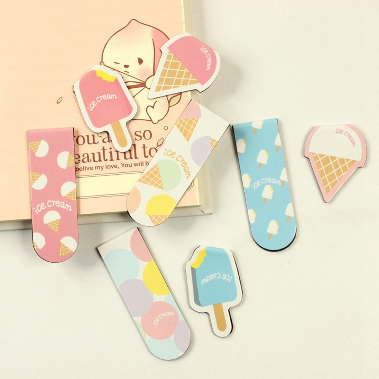 20 pcs/1 set Cartoon Creative Ice Cream metal magnetic bookmarks bookmarks for books/Share/book markers/tab for books/stationery<br><br>Aliexpress