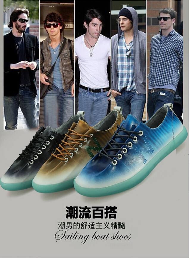 2015 men's fashion leisure LED shoes trend gradient character joker sharks(China (Mainland))
