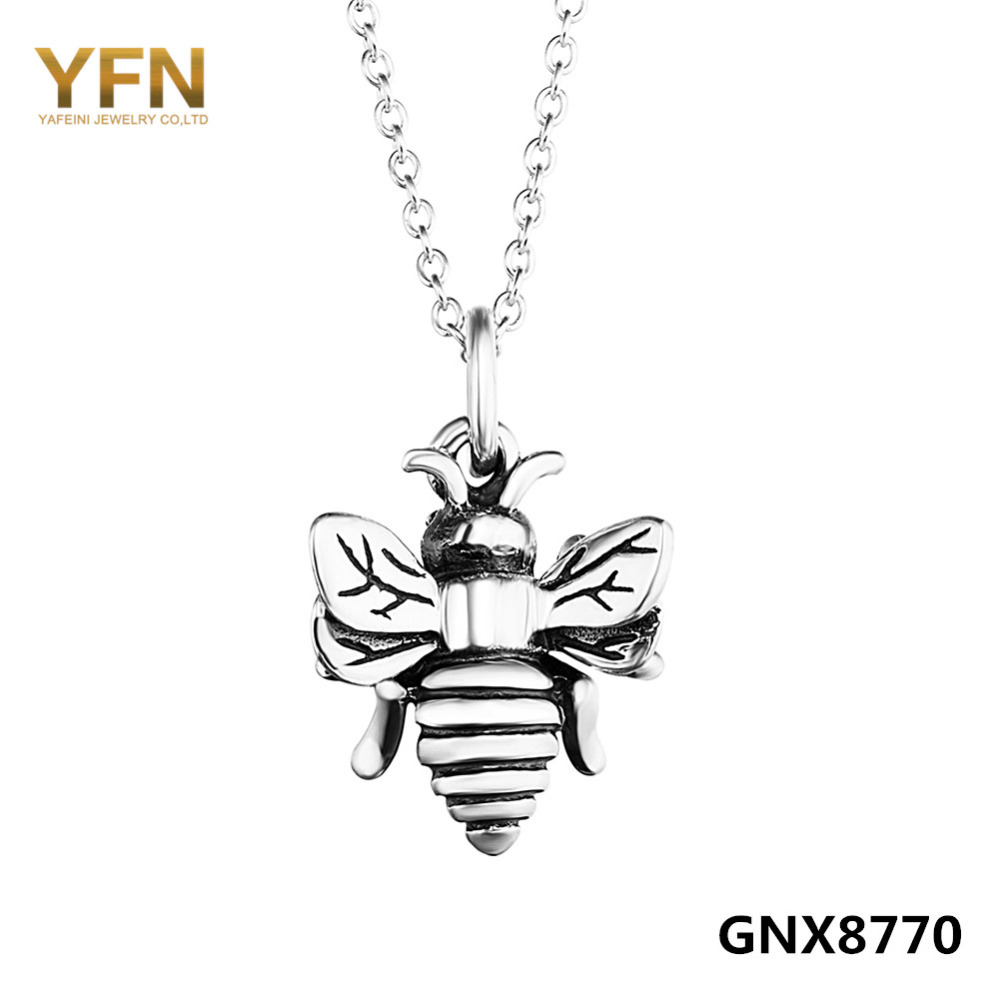 GNX8770 100% Real Pure 925 Sterling Silver Necklace Hardworking Honey Bee Jewelry Antique Silver Charm Necklace Holiday Sale(China (Mainland))