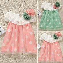 Hot New Princess Baby Girls Polka Dot Lace Dress Baby Summer Beach Dress Sundress(China (Mainland))