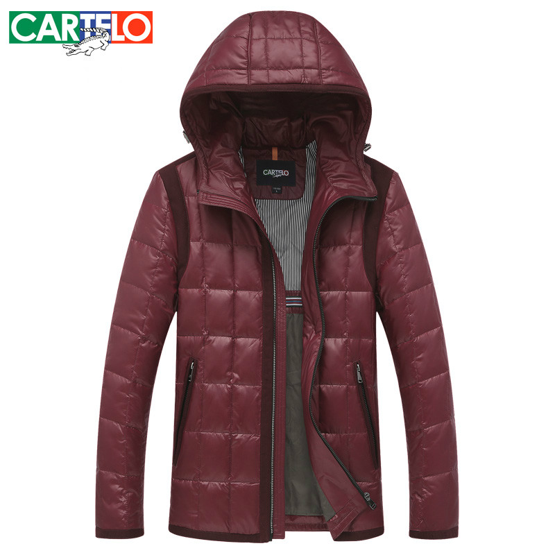CARTELO/Brand Slim 90% Duck S-XXXL Men's Casual Down Jacket Autumn Or Winter Hooded Collar Male Jackets Warm Thick Coat(China (Mainland))