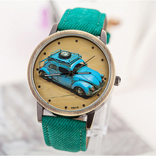 Nueva alta calidad de 2015 coches de época Geniune cuero vestido relojes europeo de dibujos animados populares de cuero de cuarzo Casual relojes mujeres