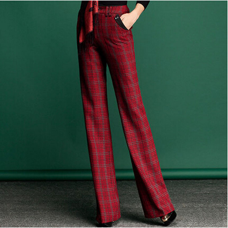 New Arrival Women Fashion Spring Trousers Long Design Mid Waist Straight Pants Plaid Casual Flare PantsОдежда и ак�е��уары<br><br><br>Aliexpress