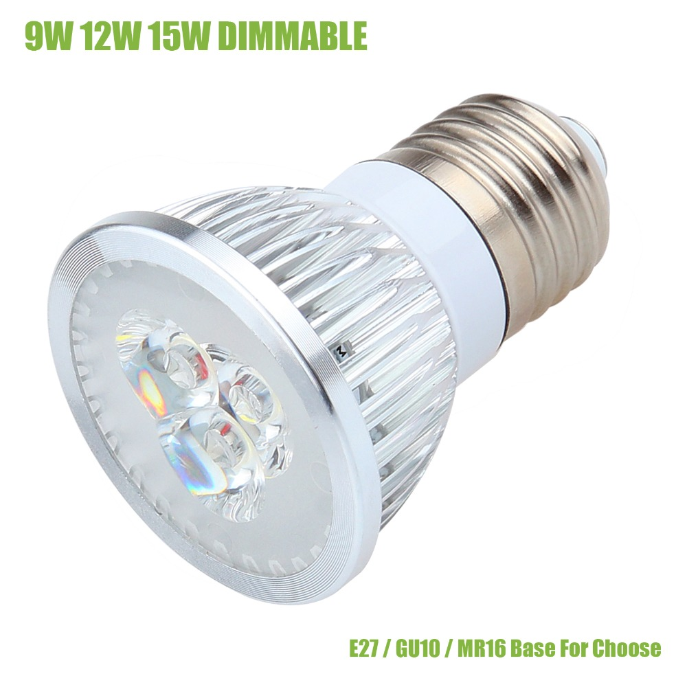 1pcs High Power 9W 12W 15W E27 GU10 MR16 LED Bulbs Light 110V 220V 12V Dimmable Led Spotlights Warm / Cool White LED Downlight(China (Mainland))