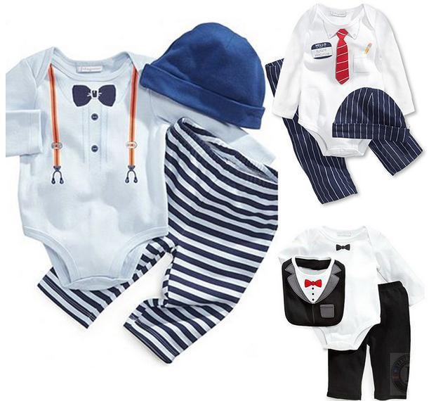new 3pcs 2014 baby cotton gentleman bow tie jumpsuits boys girls Long-sleeved Rompers +hat + pants sets children clothing suits(China (Mainland))