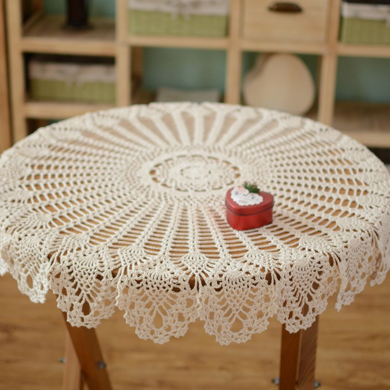Diameter 80cm Round Crochet Tablecloth 100% Cotton Hollow Out Beige Table Cloth Round Pure Handmade Knit Table Cover Towel(China (Mainland))