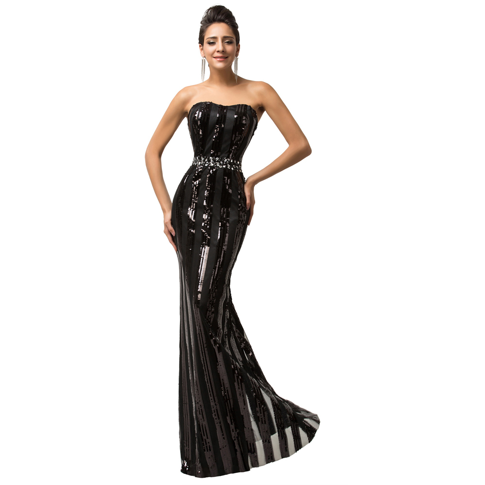 Strapless Black Evening Dress