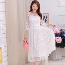 Buy 2017 Embroidered Midi Long White Holidays Beach Dress Women Summer White Lace Dress Chiffon Three Quarter Sleeve Lace Dress for $24.27 in AliExpress store