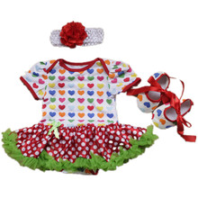 Newborn Baby girl clothes Cotton Christmas Love Dresses/infant Bodysuits short-sleeved Princess Romper tutu dress+headband+shoes