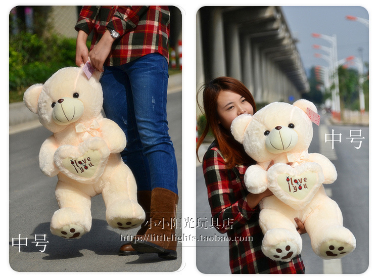 "Фотография 85 cm white beige "" i love you "" teddy bear plush toy lovely bear doll throw pillow high quality gift w4088"