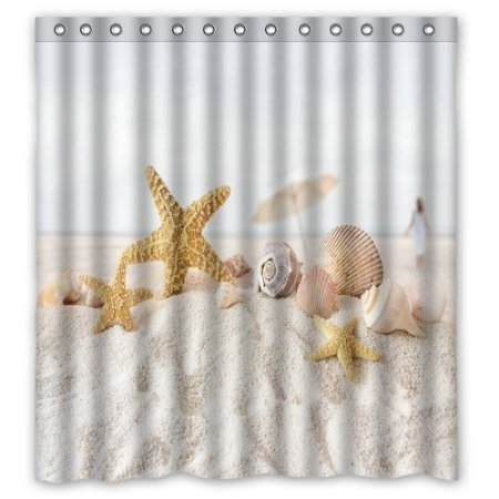Star fish sea shell beach 160x180cm Shower Curtain Custom Printed Waterproof fabric Polyester Bath Curtain(China (Mainland))