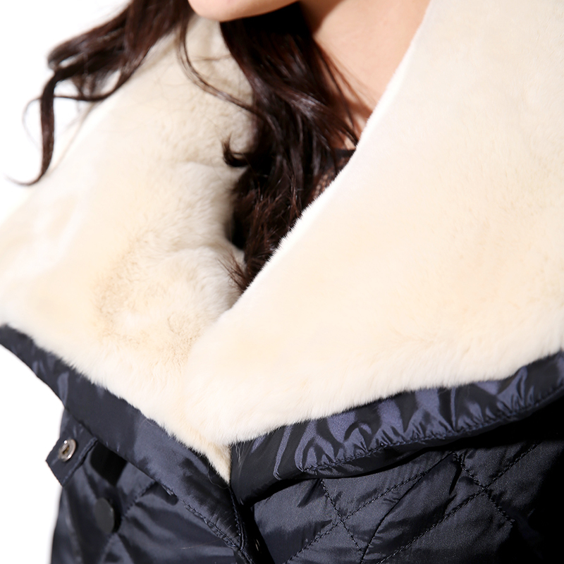 womens winter jackets medium-long down coat luxury rex rabbit large fur collar outerwear winter women jacket women's coat