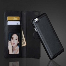 Luxury PU Leather Wallet Magnetic Chip Connection Phone Bag & PC Plastic Back Cover Flip Stand Case for iPhone 6 4.7″