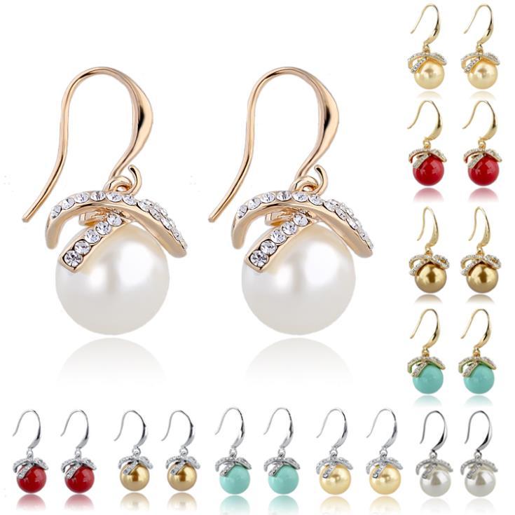 2015 New Statement Wedding Drop Earrings 18k Gold/Silver Dangle Crystal Earrings Pearl Earrings For Women Jewelry SER140092(China (Mainland))