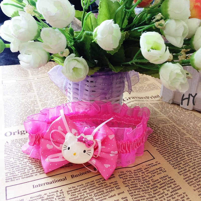 1 Pcs/lot Hair Bands Fashion Hair Accessories Red Kids Cat Headwear Cartoon Hello Kitty Elastic Hair Bands(China (Mainland))