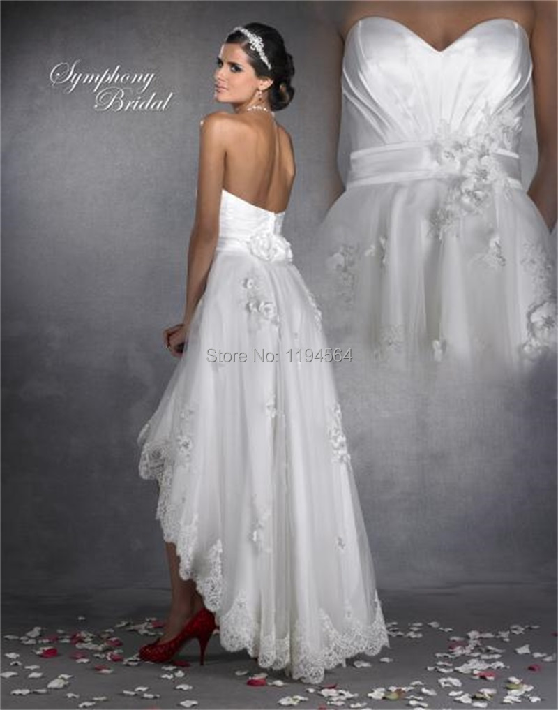 2014 hi low wedding dresses appliques organza bridal gowns for Free wedding dresses low income