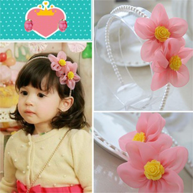 Fashion Floral Pearl Hairband Baby Girls Designer Headband Headwear Hair Accessories(China (Mainland))