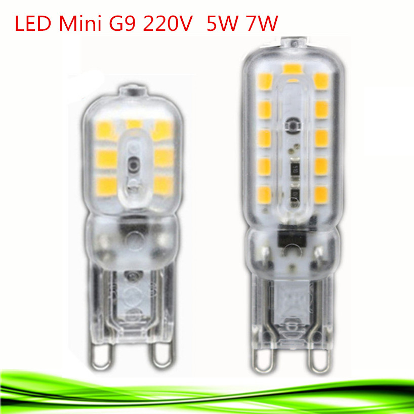 2016 NEW mini LED G9 5W 7W 220V G9 lamp Led bulb SMD 2835 LED g9 light spotlight candle bulb Replace 30W halogen lamp light(China (Mainland))