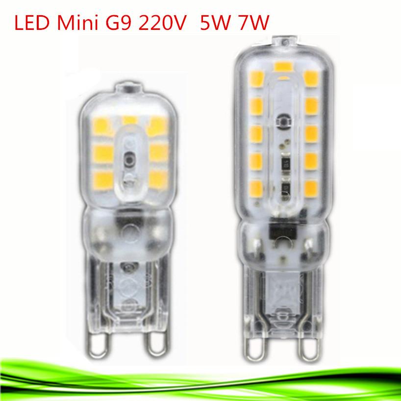2016 NEW mini LED G9 5W 7W 220V G9 lamp Led bulb SMD 2835 LED g9 light spotlight candle bulb Replace 30W halogen lamp light(China (Mainland))