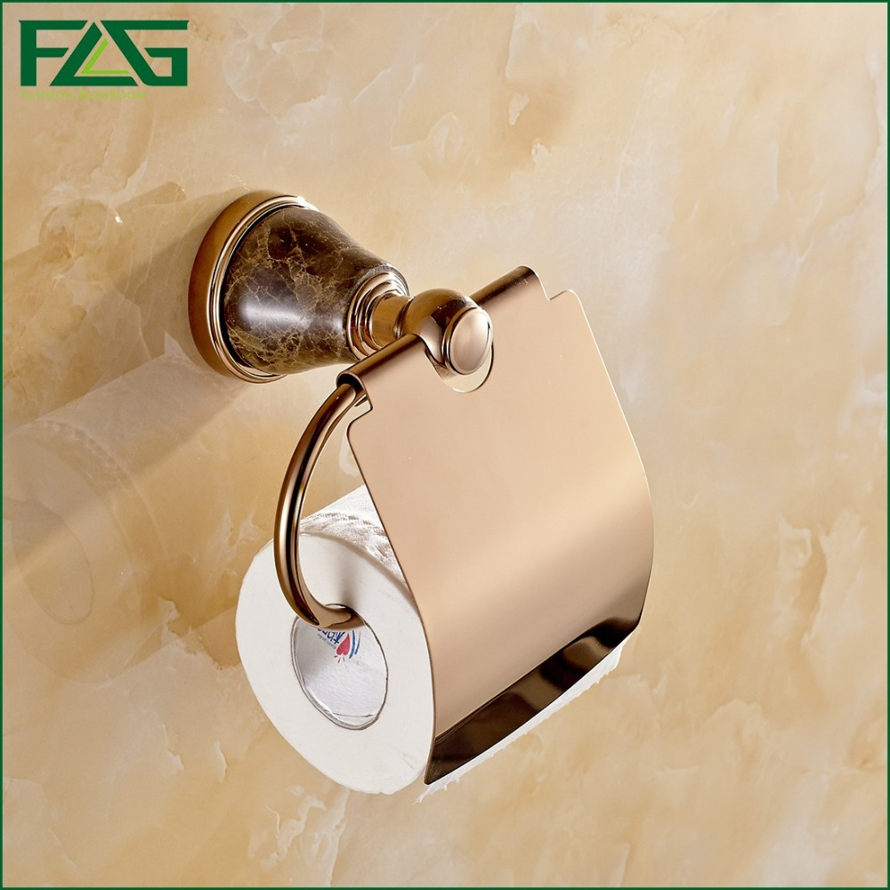 FLG High Quality Luxury Jade Decoration Rose Gold Brass Toilet Paper Holders Waterproof Tissue Bathroom Accessories G109(China (Mainland))