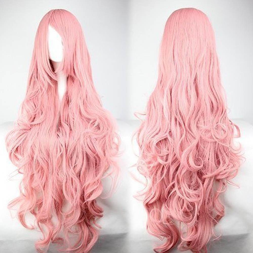 Гаджет  Pink Anime Wigs Air Volume High Temperature Curly Hair Silk Wig Cosplay ES88 None Красота и здоровье