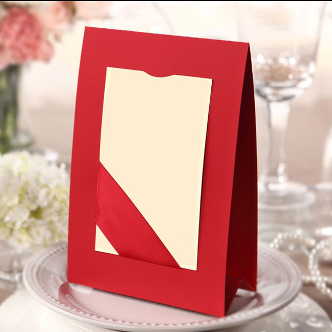 Non personalized chinese classic red wedding place cards for Personalized wedding place cards