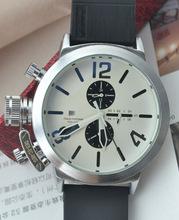 Mens Automatic blanco auto viento reloj del barco grande 50 mm relojes Classic negro U caucho cronógrafo U1001 gancho de izquierda mano con Logo