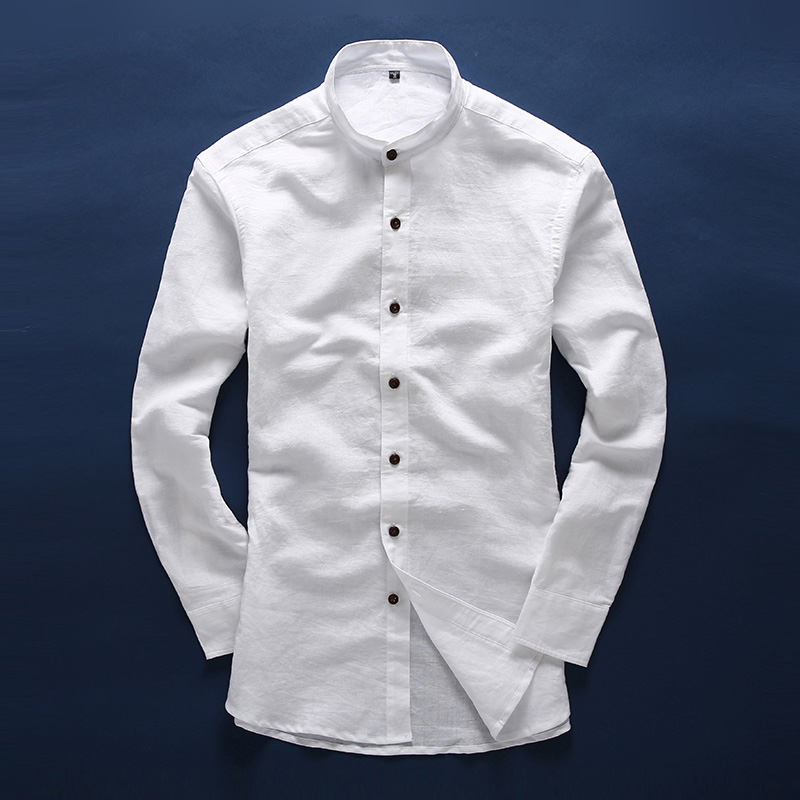 Men white linen shirt stand collar chinese traditional for Men s dress shirt accessories