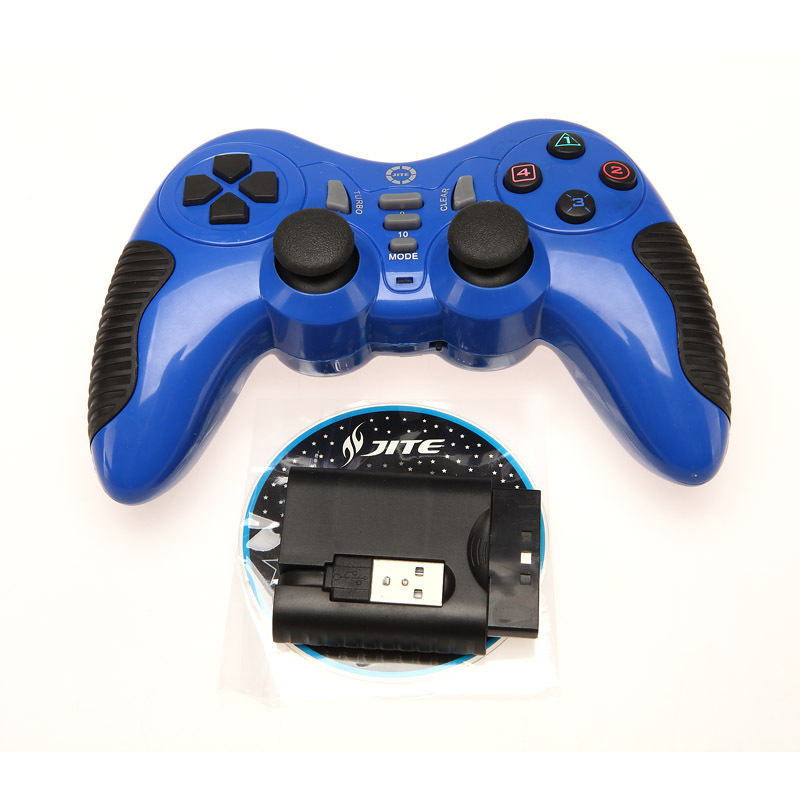 2015 Hot 2.4GHZ USB Wireless Game Controller Gamepad Joypad Joystick PC For PS2/PS3/PC Shock Vibration blue(China (Mainland))