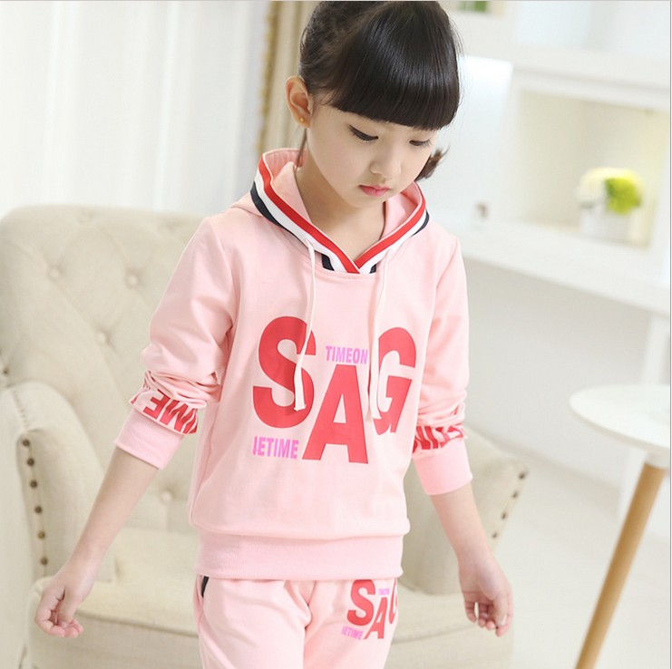 3-10Y new 2016 high quality spring girls letter sport clothing sets 2pcs kids apparel girls spring autumn suit set girl(China (Mainland))