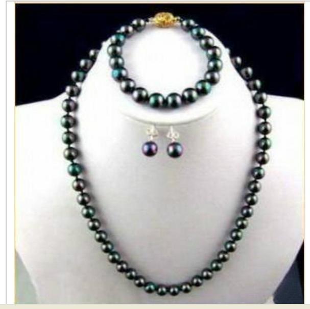 beautiful natural Tahitian black 9-10mm pearl necklace bracelet earrings free - gongxifacai9888 store