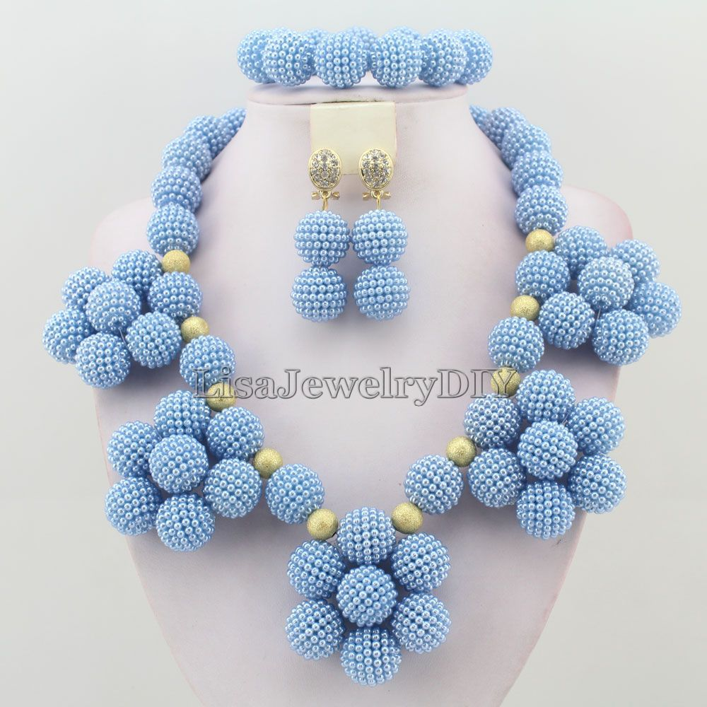 Sky Blue Nigerian Wedding Bridal Beads Necklace Earrings Jewelry Sets African HD4610