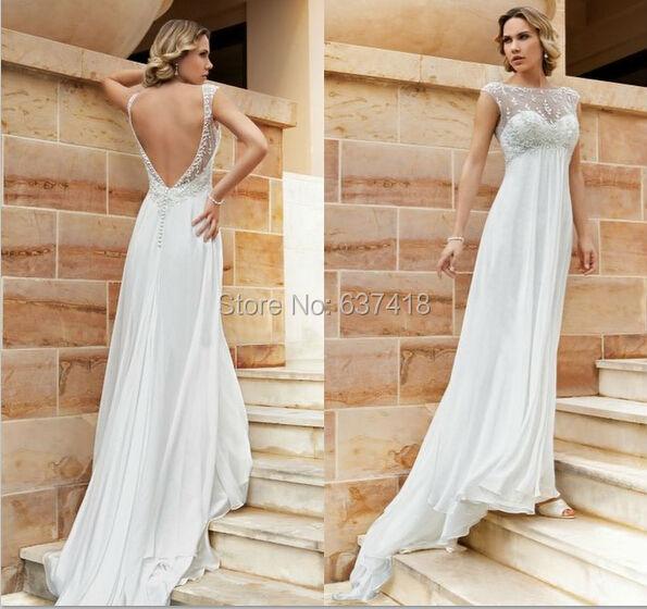 Simples chiffon vestido de noiva vestido de casamento for No back wedding dress