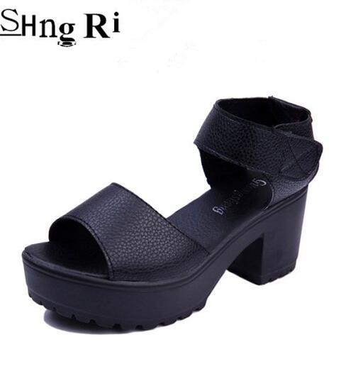 Womens shoes sandals 8 cm high heels new 2106 summer European style Velcro fashion ladies sandals  size 35- 41<br><br>Aliexpress