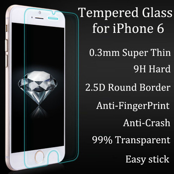 0.3mm Super Thin Tempered Glass Film for iPhone 6 6S 0.2mm Round Border High Transparent Screen Protector with Clean Tools
