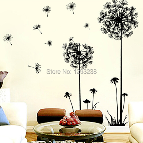 Home Decor Dandelion Flower Removable Bed Room Art Mural Vinyl Wall Sticker Decal FZ2462 Free Shipping NWvm(China (Mainland))