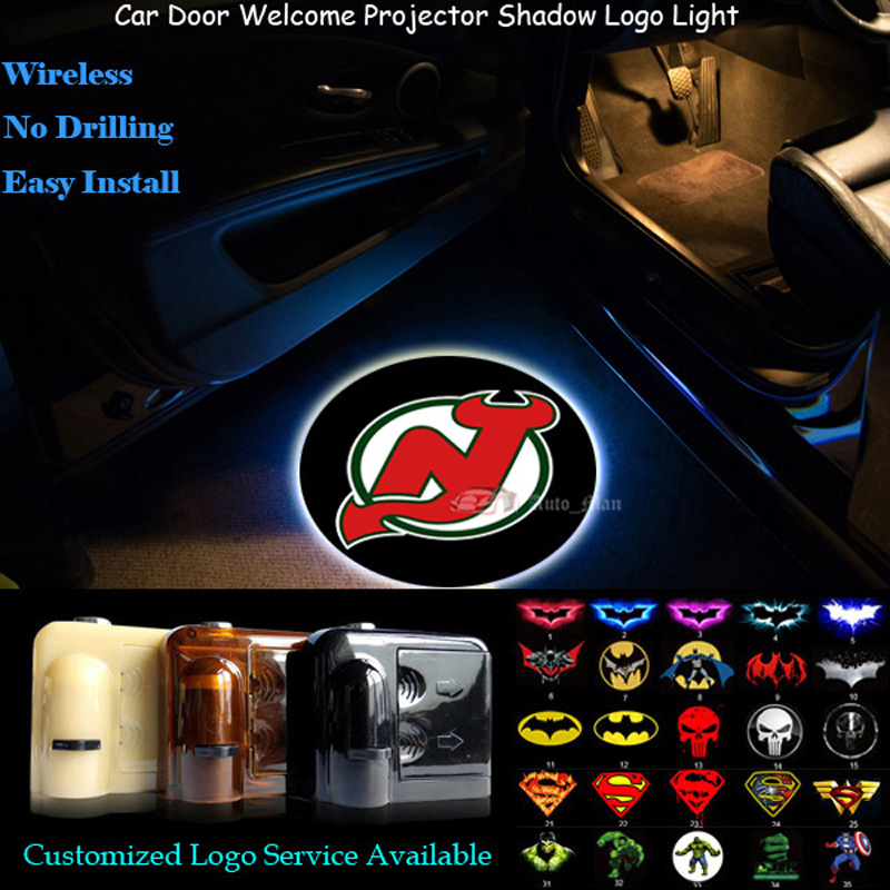 2x New Jersey Devils Logo Wireless Senor Car Door Welcome Ghost Shadow Spotlight Laser Projector Puddle LED Light (NHL11)(China (Mainland))