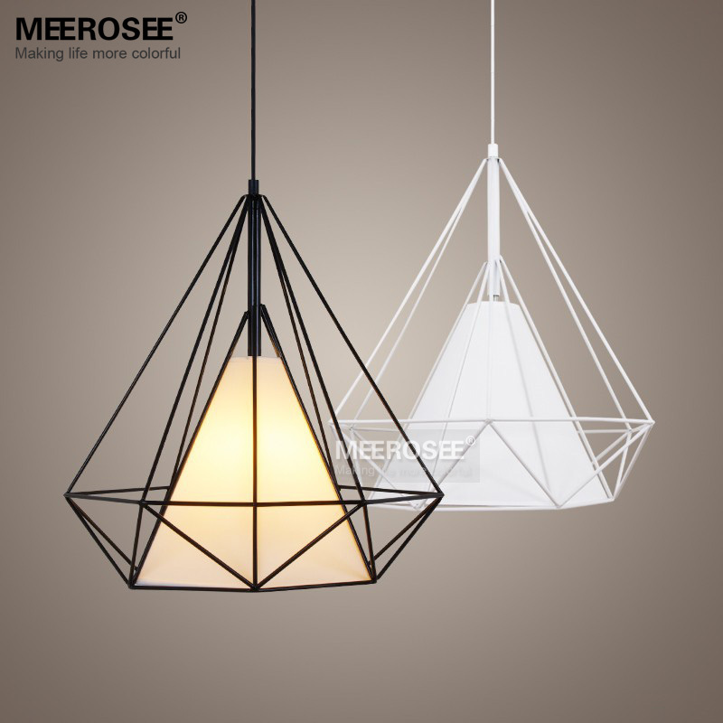 moderne birdcage pendentif luminaire scandinave art pyramide fer suspension lumi re noir blanc. Black Bedroom Furniture Sets. Home Design Ideas