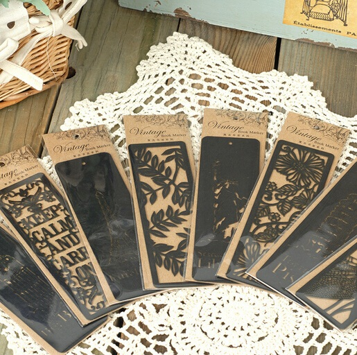 NEW Vintage World Hollow style Series black bookmark/Creative Book marks/nice gift(China (Mainland))