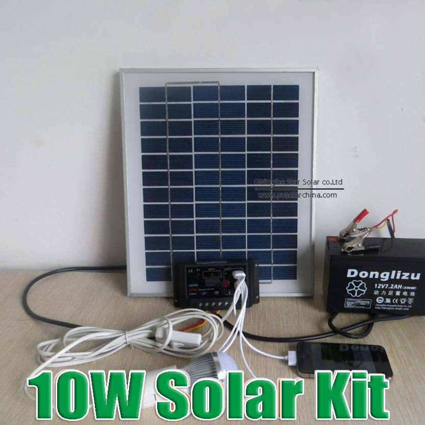 Hot Sale 10W Solar power system 12V DC input,10 Watts solar kit for home 12VDC led lamp(China (Mainland))