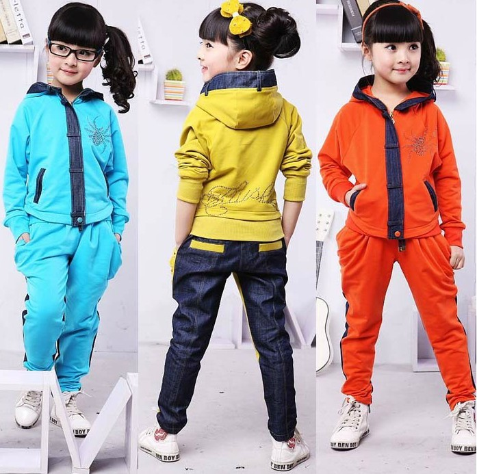 2015 New Design Fashion Children Clothing Set Girls Denim Patchwork Coat+Trousers Tracksuit Kids Spring Autumn Sport Hoodie Suit(China (Mainland))
